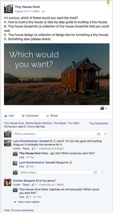 Tiny House Hunt Facebook Poll