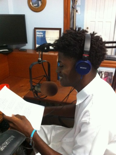 Jahson Wright , High Sdhool senior reading Weather Report on Lighthouse!