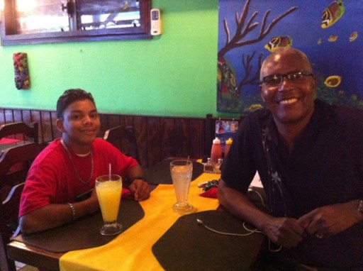 Miguel & Clive celebrating his 17th birthday at Caramba's Restaurant several weeks before leaving!