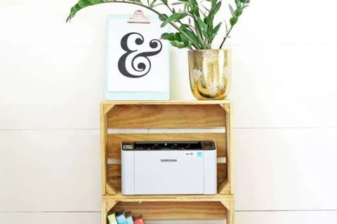 decorate with wooden crates