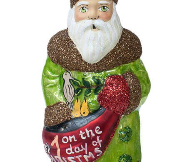 St Day Of Christmas Santa With Partridge In Pear Tree