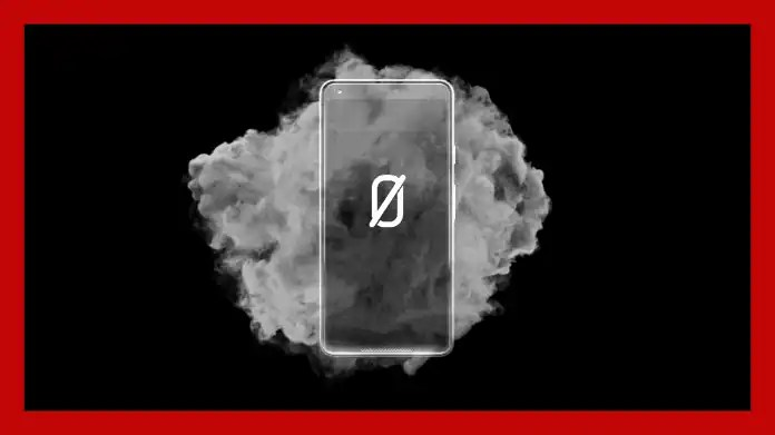 Mobile phone with AN0M logo, behind it a cloud of smoke, all around a red frame
