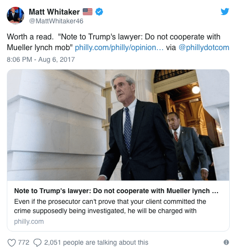 Ex Clinton Prosecutor Robert Mueller Can T Trump: Matthew Whitaker 'Would Indict Hillary Clinton', Says