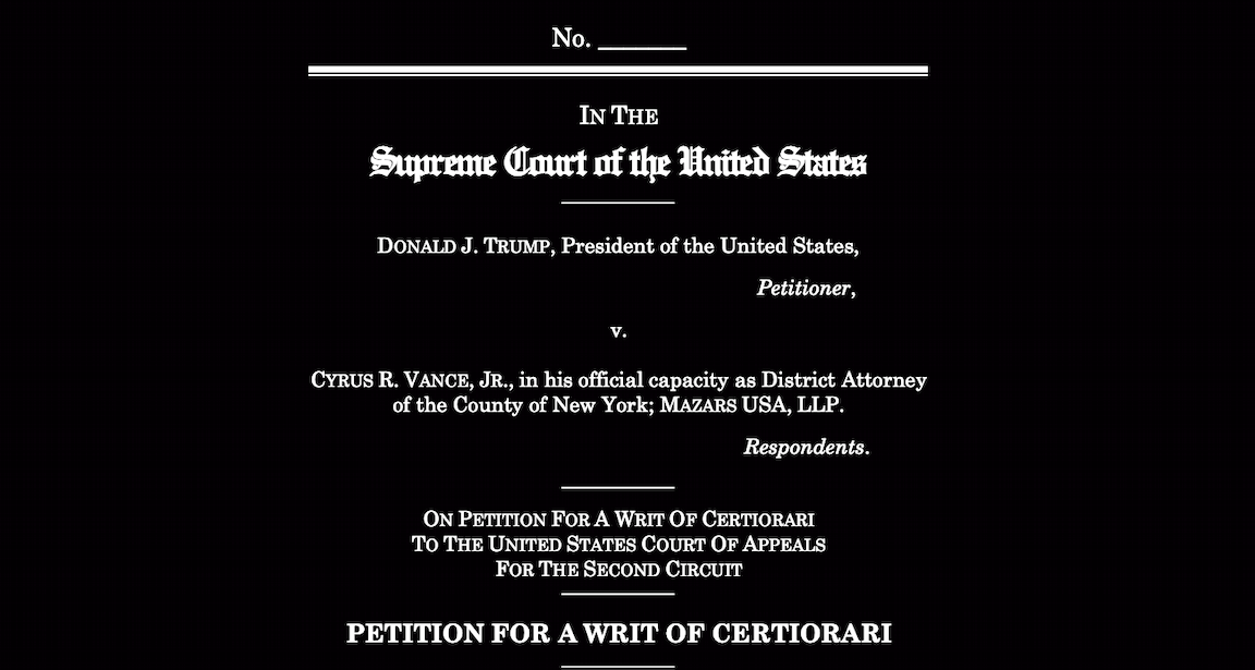 Trump Takes Tax Fight To Supreme Court