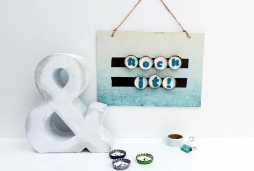 Letterboard mit Magneten aus Kronkorken DIY