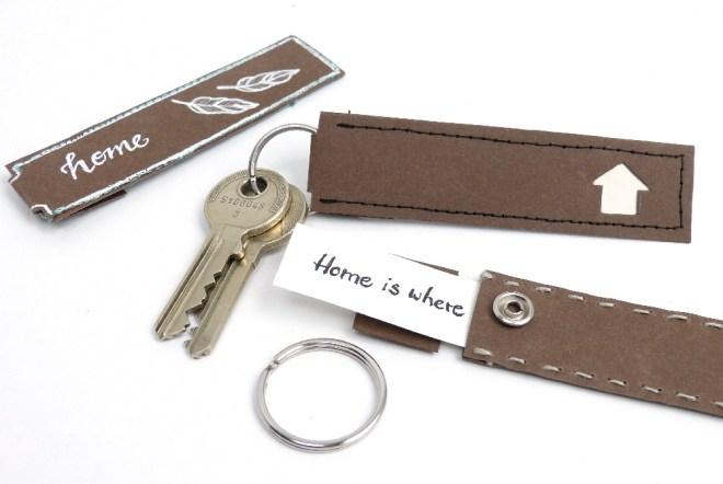 Papierstreifen mit Text für Schlüsselanhänger