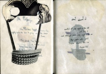 Short Stories written backwards, collage, artists book
