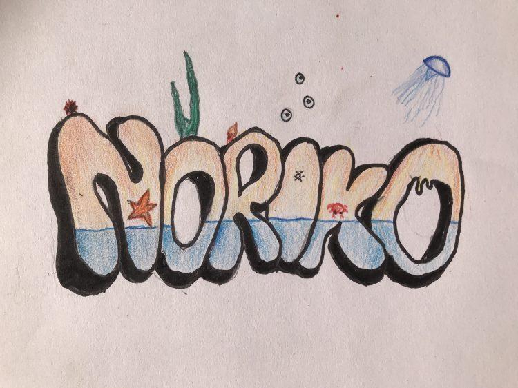 Grafittibild av Norikos namn