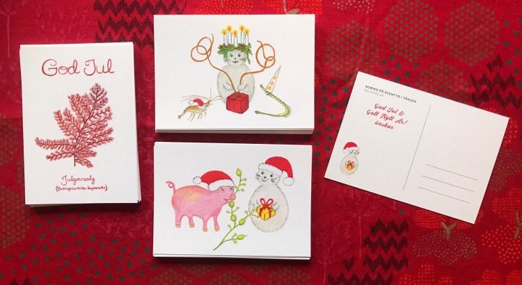 Norikos julkort: Noriko som lucia, Noriko med knöltång och julgris, julgransalg