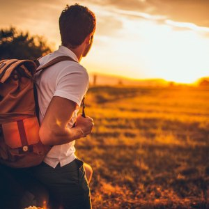 backpacker in the sunset