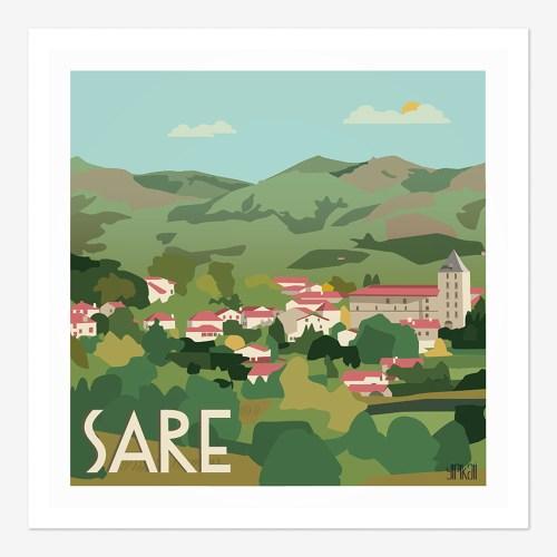 Affiche le village de Sare au Pays-Basque