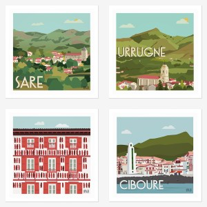Assortiment de 4 affiches Pays-Basque, Sare, Urrugne, Espelette, Ciboure