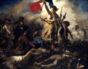"""دعوة إلى الرومانتيكية يوجين ديلاكروا، لوحة """" الحرية تقود الشعب""""، 1830م"""
