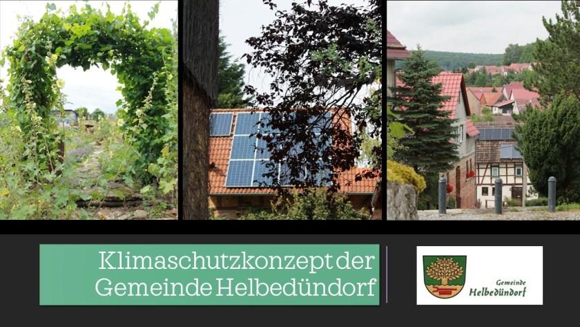 3 Fotos mit Ansichten von Helbedündorf und Logo der Gemeinde Helbedündorf