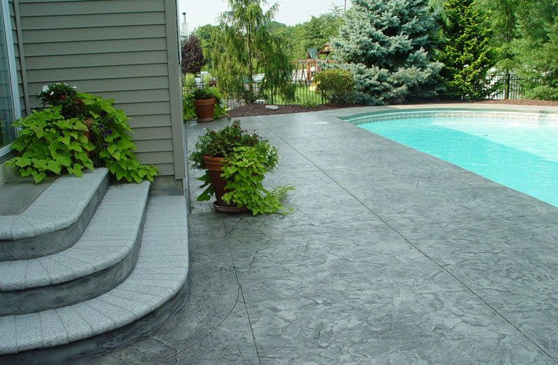 stamped concrete patio stairs ideas and