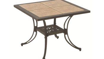 patio table with ceramic tile inserts