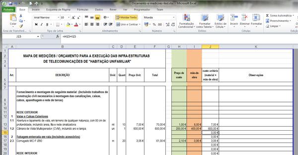 Mapa de Quantidades e Estimativa Orçamental ITED