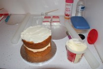 Starting to use the frosting to cover the cake