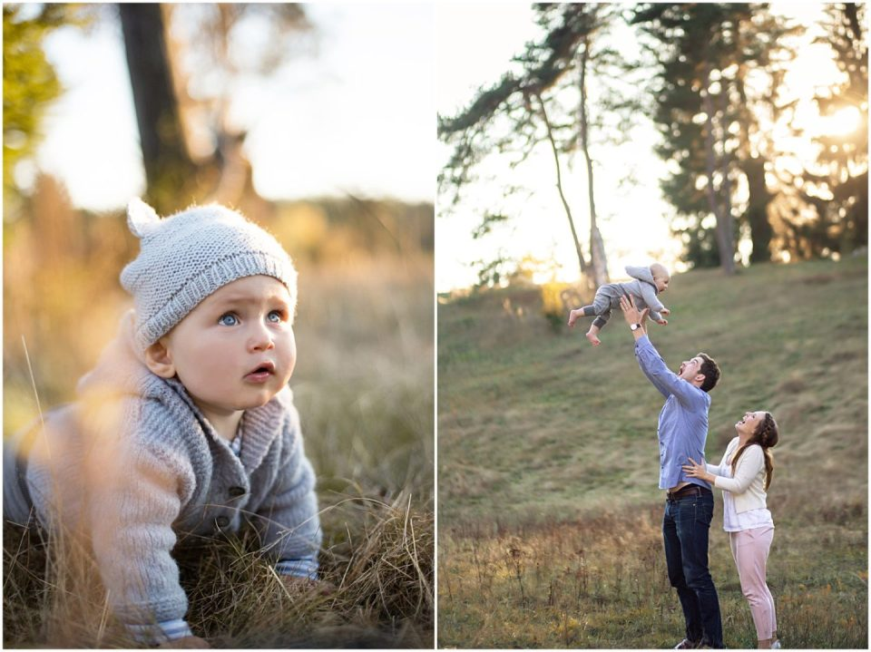 baby and family photographer Connecticut during golden hour light