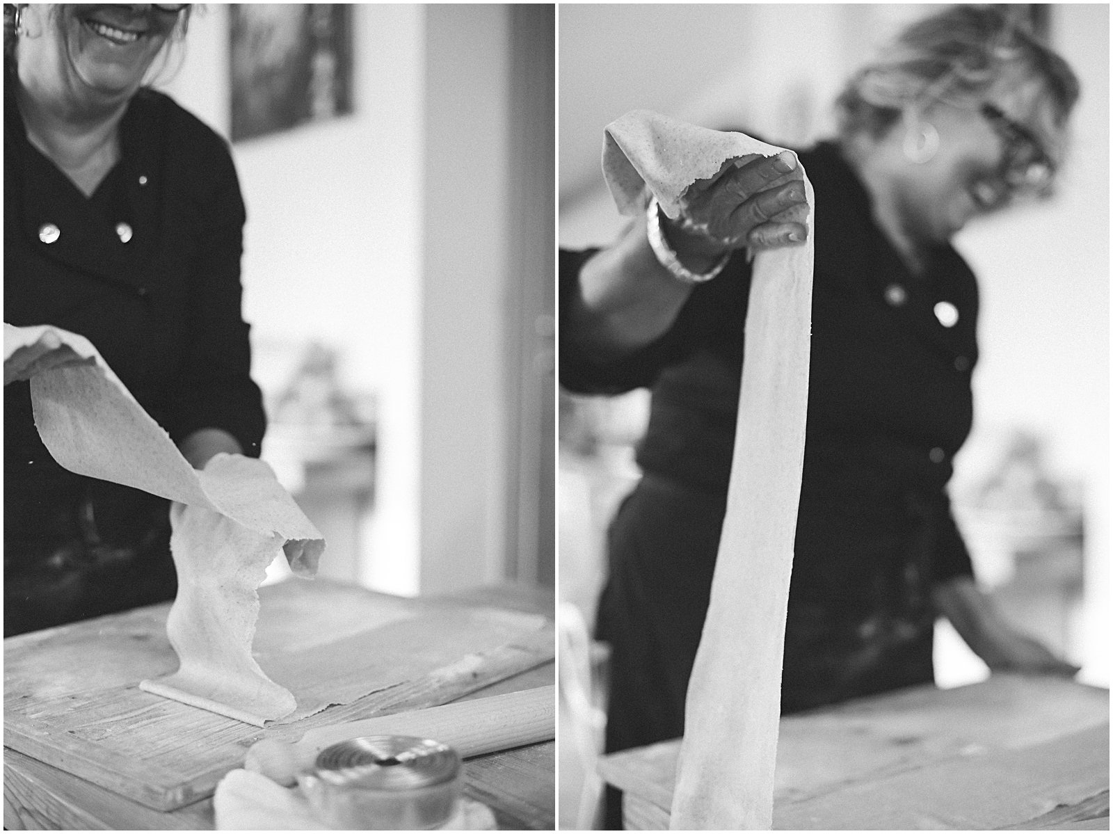 making pasta at vegetarian cooking class in Rome with Claudia