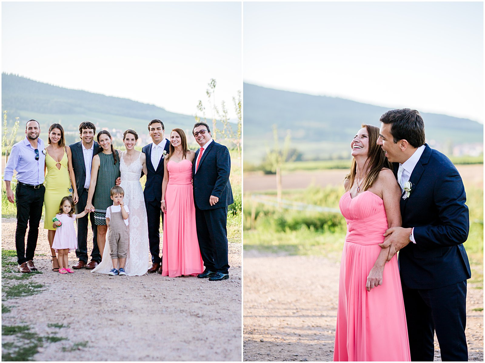 family photographed at wedding in Alsace France near Colmar by portrait wedding photographer Helena Woods
