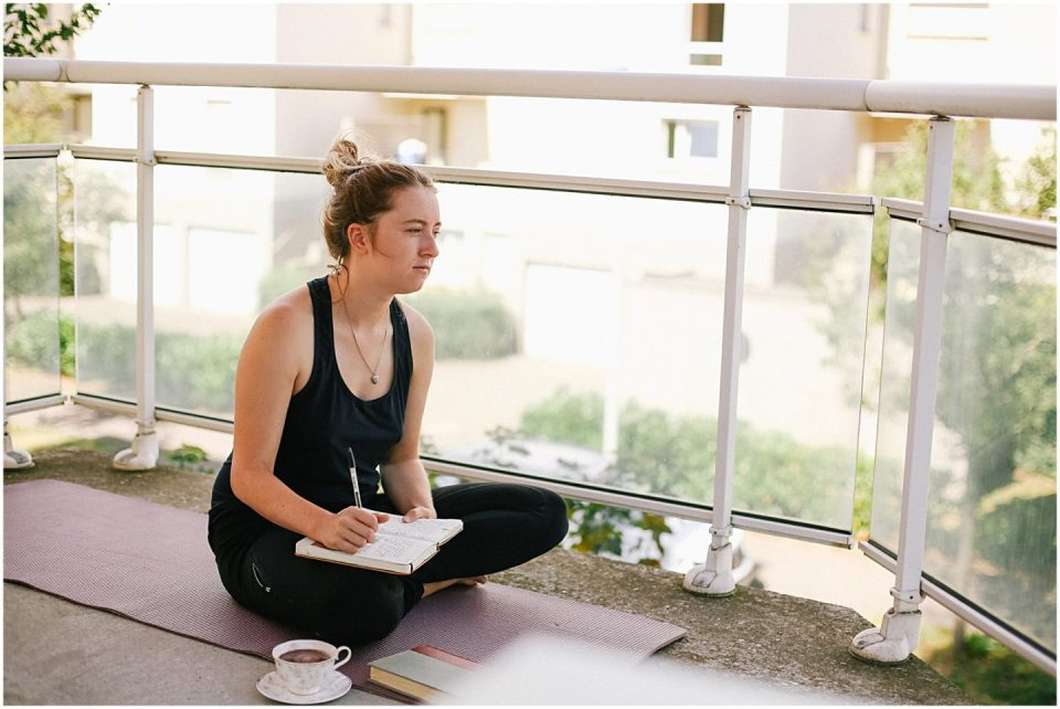 peaceful yoga and gratitude journaling morning