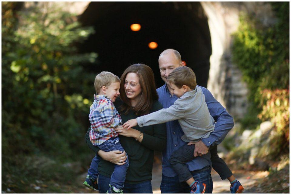 family photos at Wilkes Tunnel Alexandria VA