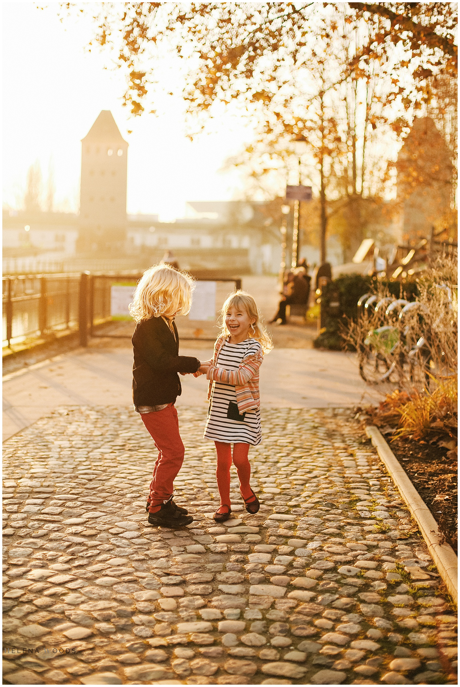 kids dancing in Strasbourg Alsace France with family photographer Helena Woods