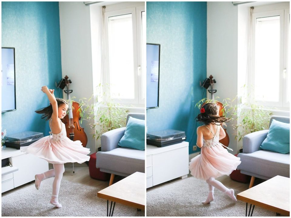 girl in pink dress dancing at Home Lifestyle Family Photo Session with Helena Woods Photography