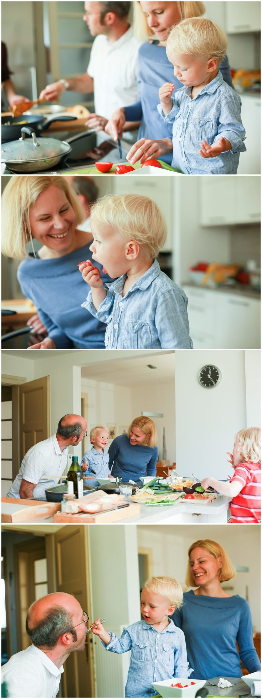 family cooking at home in the kitchen with lifestyle family photographer Helena Woods Photography