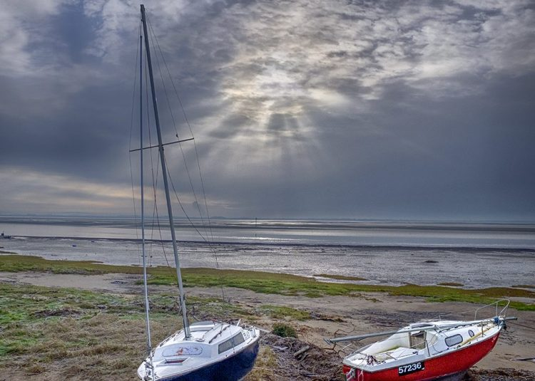 Two Boats on the Beach on a Frosty Morning Lytham Fylde