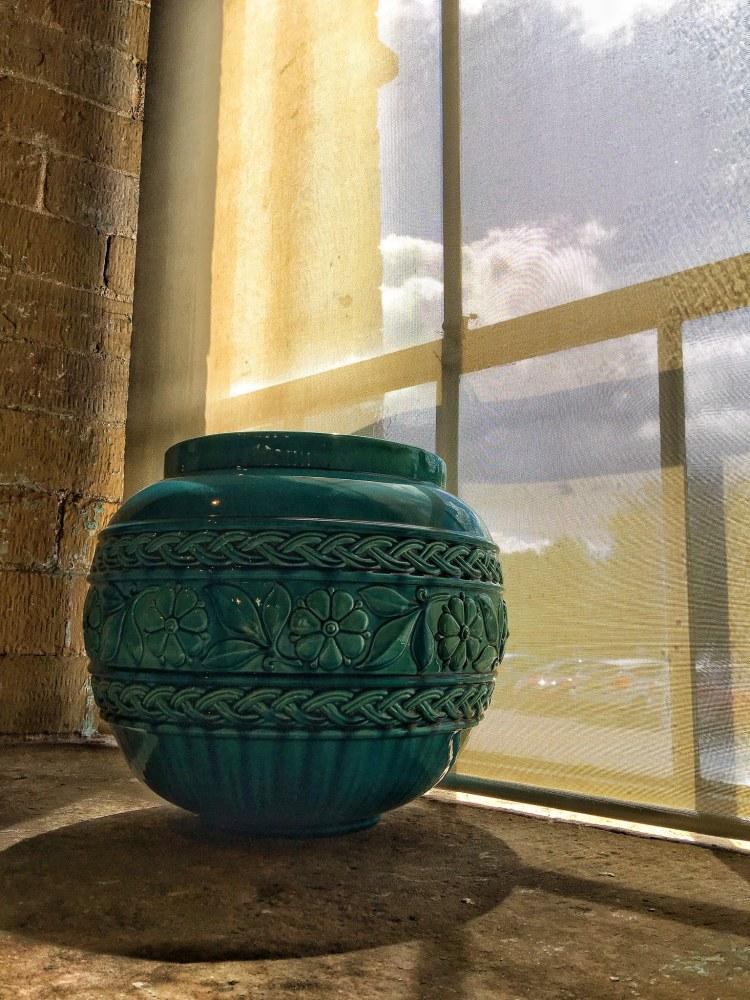 Green Vase in Sunlight Salts Mill Saltaire UNESCO