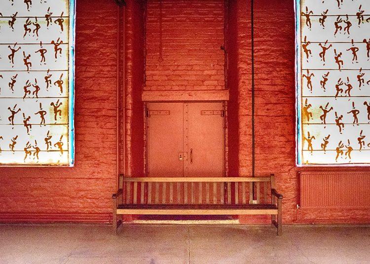 Orange Doors in Salts Mill, Saltaire UNESCO site Yorkshire