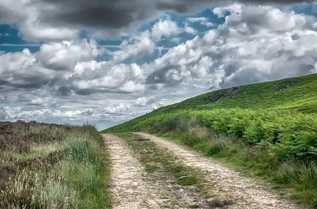 On Ilkley Moor Yorkshire path walk