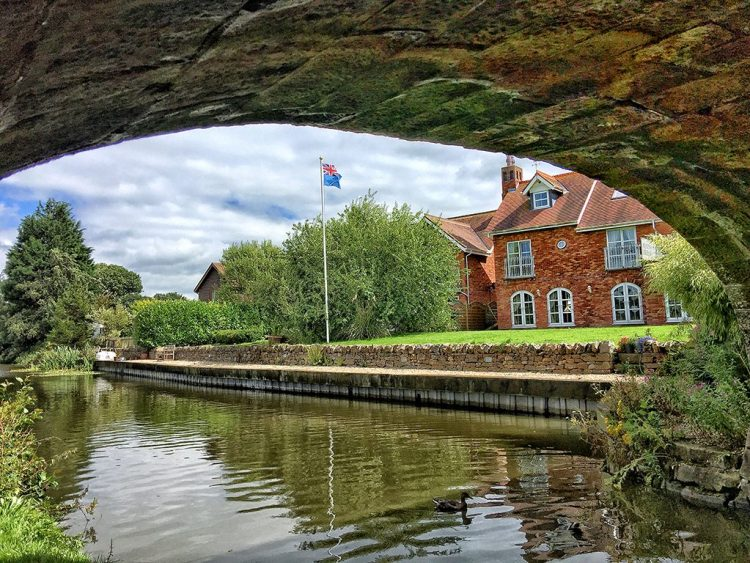 Canalside House with Flag Lancaster Canal Lancashire