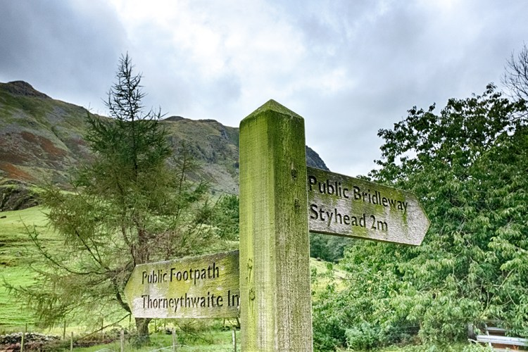 signpost Styhead bridleway Thorneythwaite Public footpath