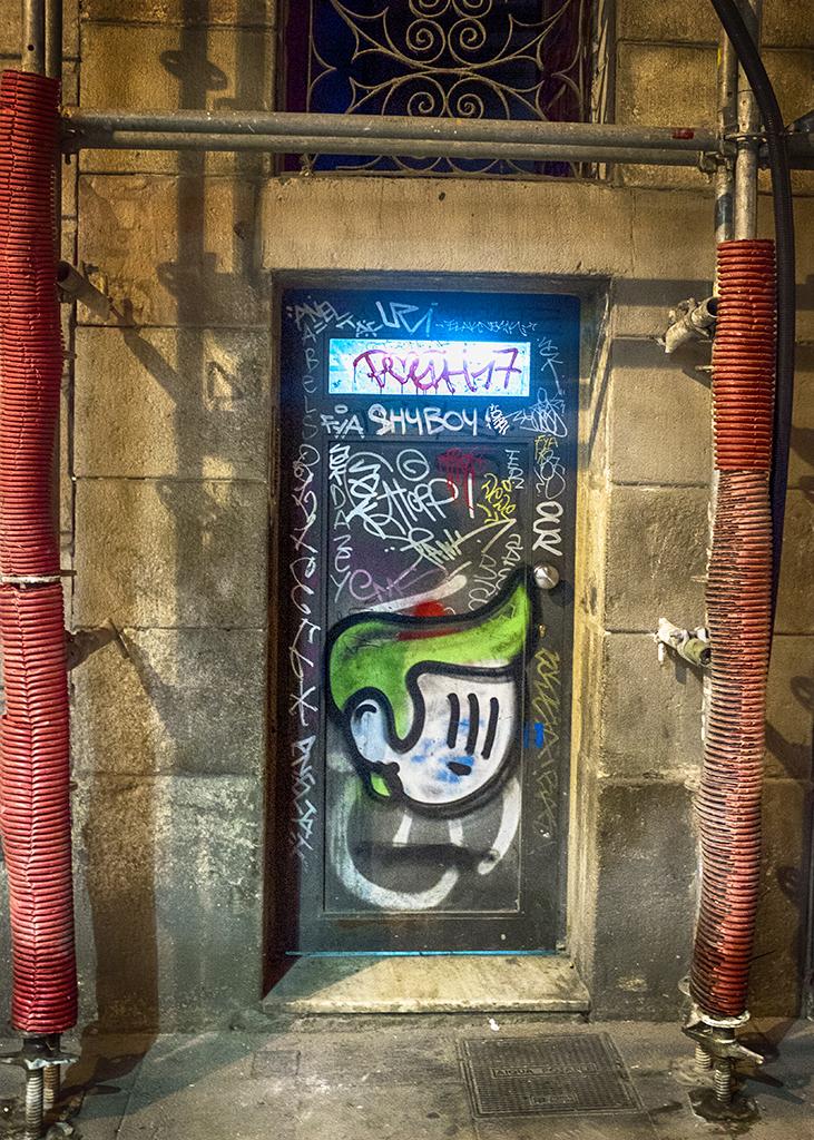 Door with Scaffolding Barcelona Gothic Quarter