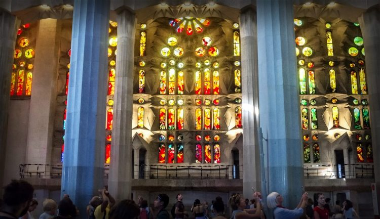 Stained Glass window Sagrada Familia Barcelona Gaudi