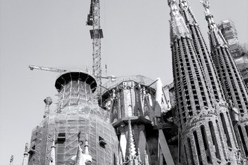 Towers and a Crane Sagrada Familia Gaudi Barcelona