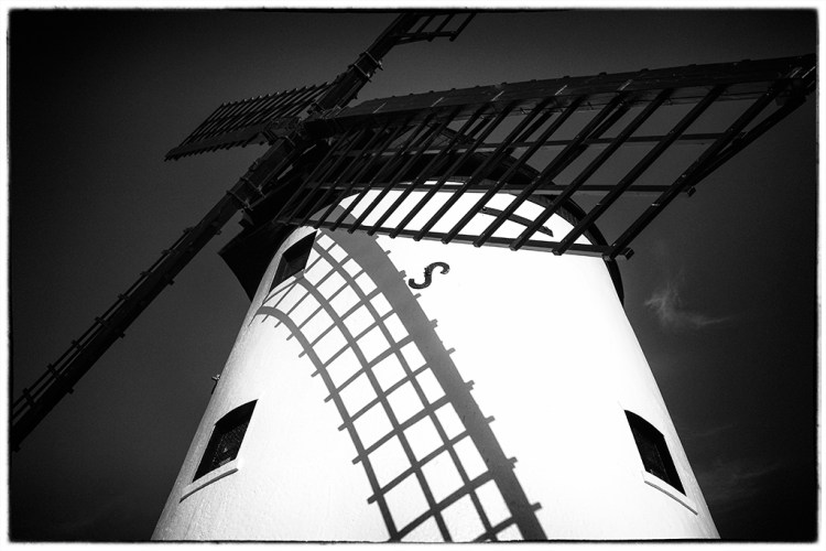 Lytham Windmill perspective monochrome