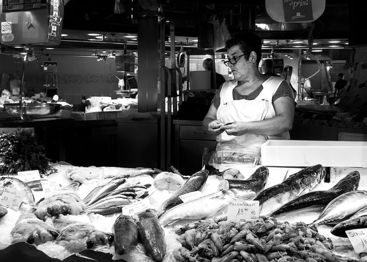 fish market LaBoqueria stall Barcelona monochrome Black & White