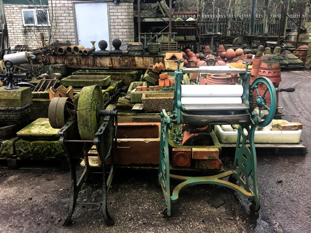 A Mangle & a Knife-Sharpener Victorian salvage yard