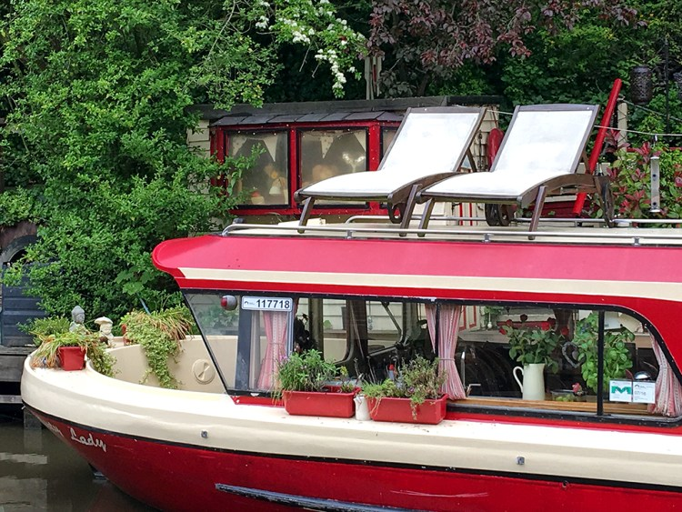 deckchairs canal houseboat narrowboat Canal Hebden Bridge