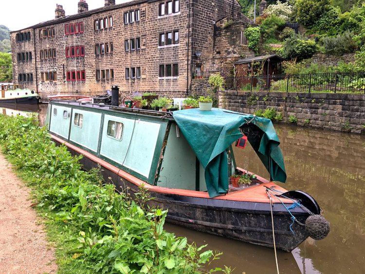 Houseboat canal narrowboat Hebden Bridge atop