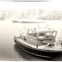 The Prestonian boat Preston Marina monochrome alphabet tug