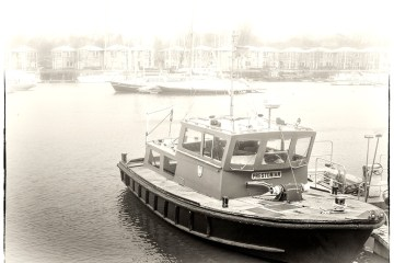 The Prestonian boat Preston Marina monochrome alphabet tug