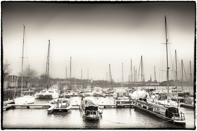 Preston Marina on a Grey day Monochrome alphabet