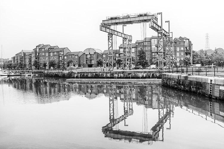 Boat Hoist reflections Preston Marina