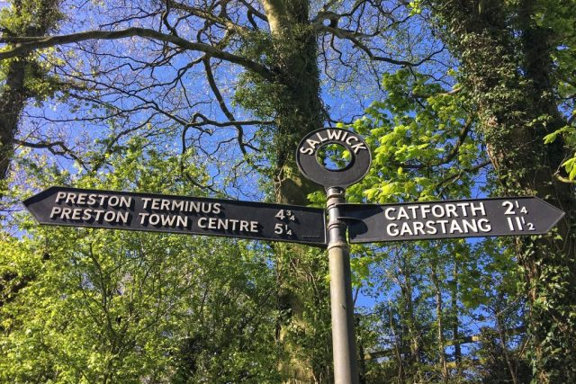 Salwick Signpost Lancaster Canal Towpath Bridge 26