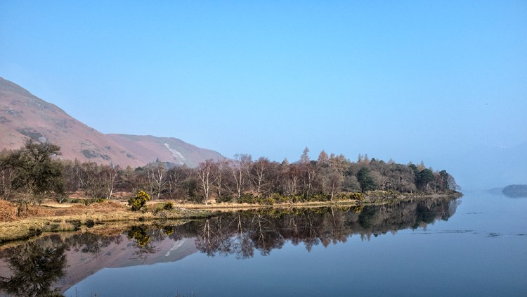 Reflections at Manesty, Derwentwater, cumbria lake District walk